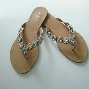 Tallulah Blu//Light Pink Crystal Detail Sandals
